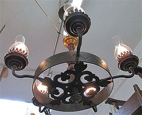 The bungalow store lighting vintage monterey iron and wood 5 light chandelier vintage monterey iron and wood 5 light chandelier wonderful iron work of scroll and leaf cast plate aloadofball Gallery