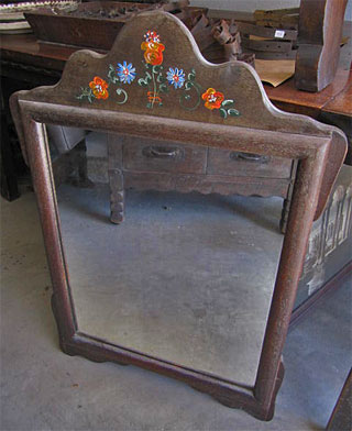 Vintage Monterey Arch Top Mirror With F Paint Fl Decoration Old Wood Rubbed Pumice Finish