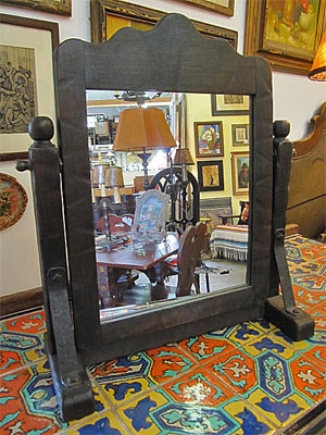 Vintage Old Wood Monterey Mirror On Stand Trestle Holds Arch Top That Swivels The Stiles
